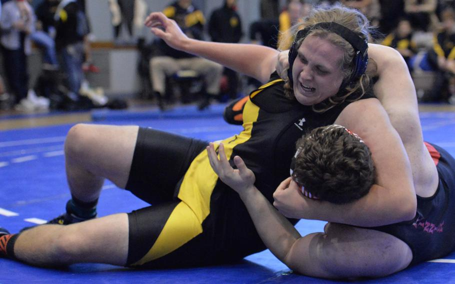 """Kadena heavyweight James White gets the upper hand on Nile C. Kinnick's Marc Domery during the championshipl bout in Saturday's """"Beast of the Far East"""" tournament. White pinned Domery in 1 minute, 51 seconds."""