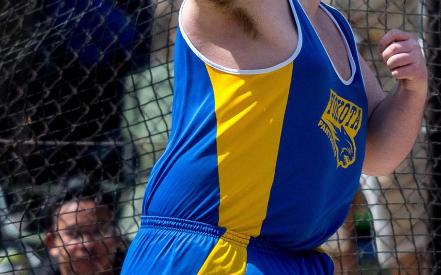 Yokota senior Christian Sonnenberg lets the discus fly Saturday. He broke his own Pacific record of 56.40 meters, throwing 58.04 on his first attempt. It's the second Pacific field-event record to fall in as many weeks.