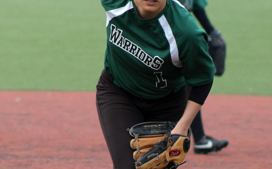 Daegu's Kaitlyn Sandoval prepares to pitch against Humphreys during Saturday's softball game, won by the Warriors 34-5.