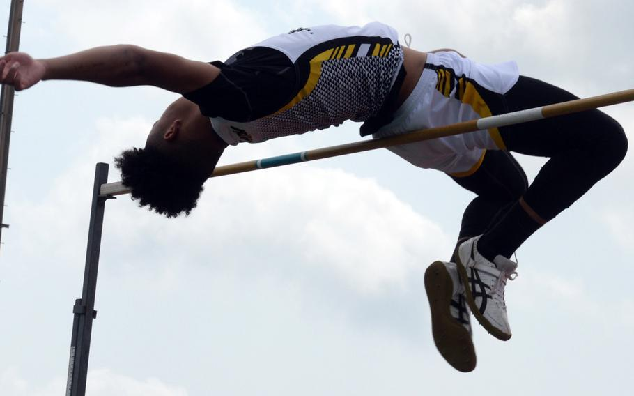Kadena senior Donte Savoy just misses clearing 6 feet, 2 inches during Friday's 13th Mike Petty Memorial Track and Field Meet. Savoy settled for 6-0, or 1.82 meters, to win the event.