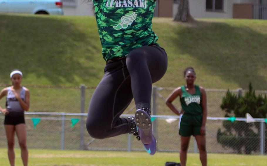 Defending Far East champion Gabriella Provost of Kubasaki leaped 4.49 meters in the long jump, but it wasn't enough to beat Zama American's Faith Bryant, the lone off-island entry in the 13th Mike Petty Memorial Track and Field Meet. Bryant jumped 4.73 to win the event.