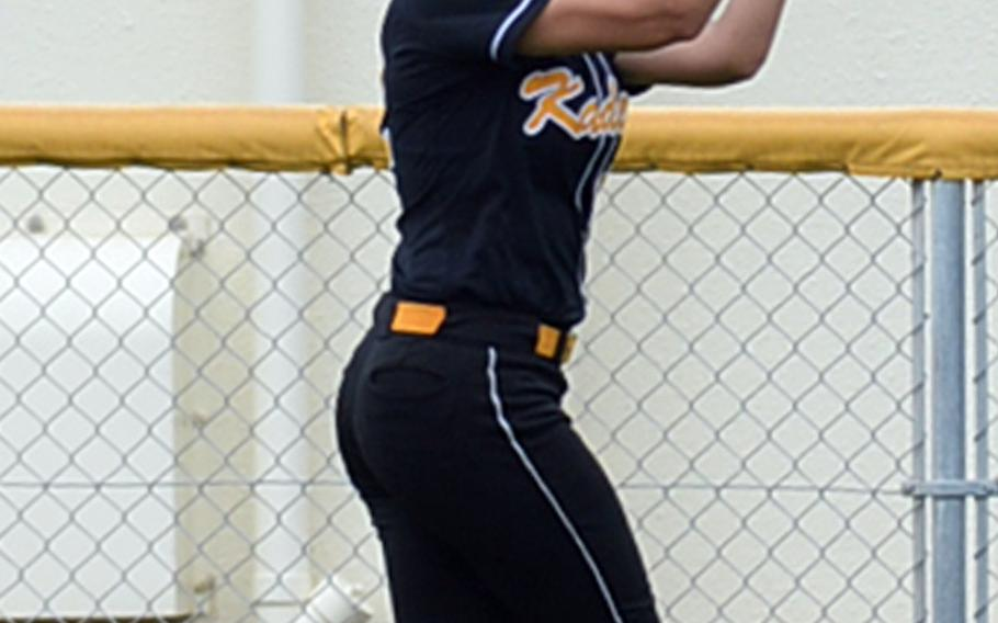 Kadena center fielder Yasmine Doss can't find the handle on a fly ball against Kubasaki that opened the floodgates for an 8-0 Dragon first inning. The Panthers outscored Kubasaki 22-1 from that point for a 22-9 win Friday, giving Kadena the season series against the Dragons 3-2 after trailing 2-0.