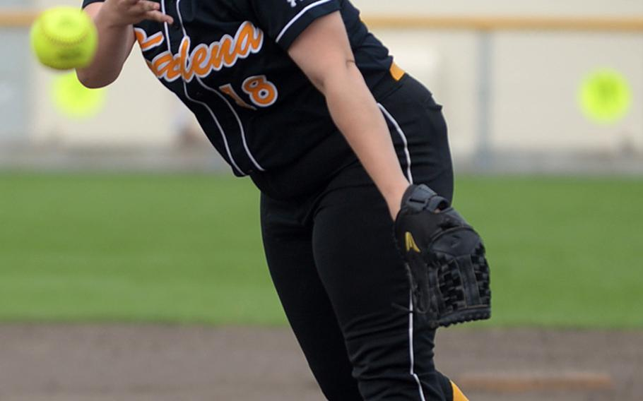 Kadena right-hander Lauren Erp survived five wild pitches and 12 walks, while the Panthers outscored Kubasaki 22-1 after falling behind 8-0 in the top of the first for a 22-9 win Friday, giving Kadena the season series against the Dragons 3-2 after trailing 2-0.