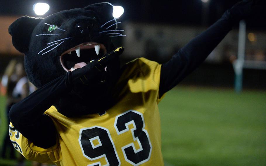 Prowler, Kadena's mascot, strikes a pose on the Kubasaki sideline.
