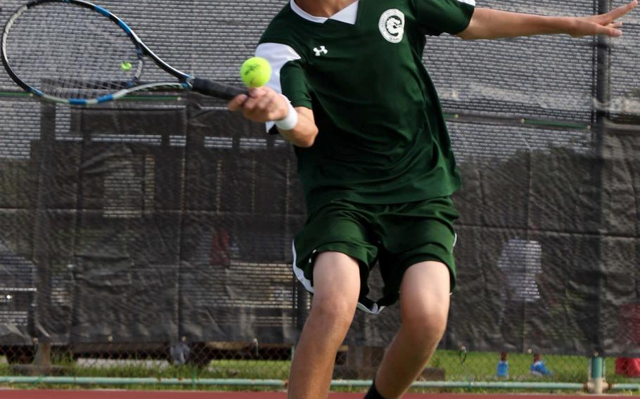 Kubasaki sophomore Shannon Hyde won Okinawa district titles in boys singles and doubles.