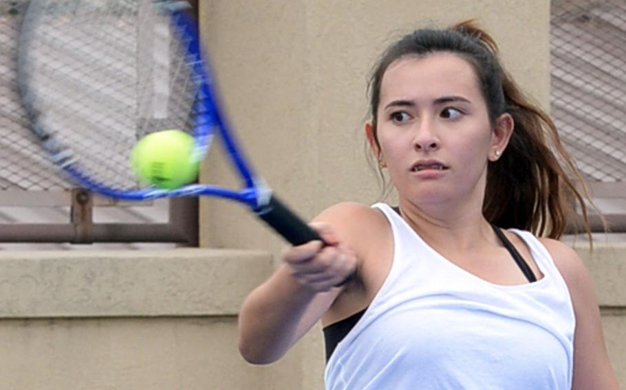 Osan American senior Samantha Kwazniewski might benefit from a Far East tennis tournament field that's absent last year's singles champion and runner-up.