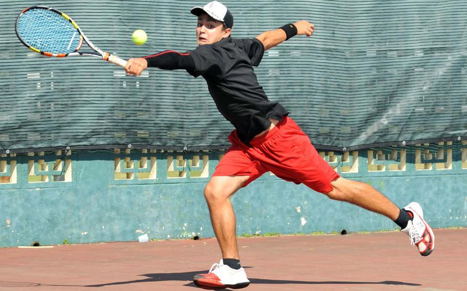Senior Akira Goodman of E.J. King won the boys singles B bracket title in last weekend's DODEA-Japan tennis tournament.