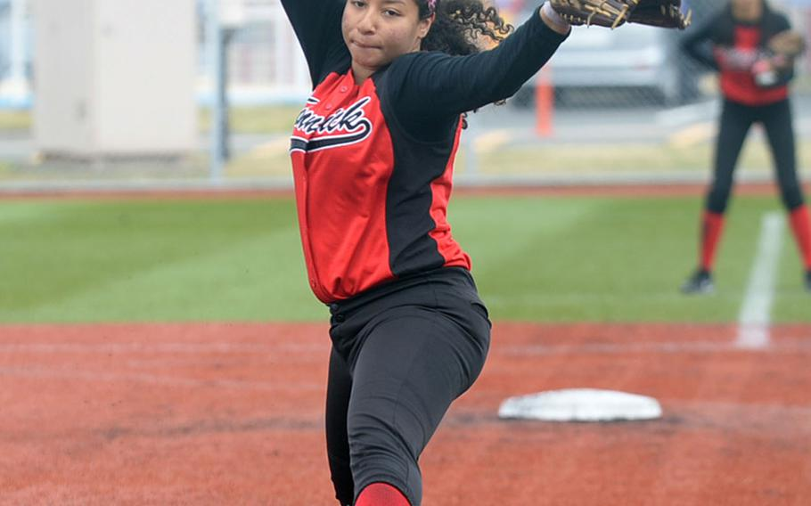 Nile C. Kinnick's Mariah Wimberly got two complete-game victories in the Red Devils' weekend sweep of Matthew C. Perry 19-7 and 23-3 in a DODEA-Japan softball series.