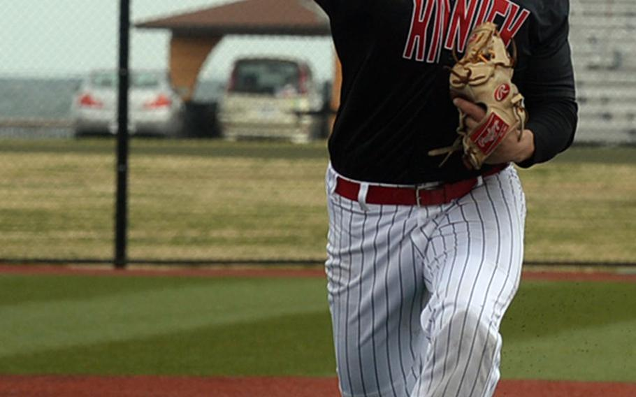 Nile C. Kinnick's Jonathan Acosta got the win with five innings of relief and the Red Devils scored five times in the bottom of the sixth inning to beat Matthew C. Perry 12-7 in Saturday's DODEA-Japan baseball game.
