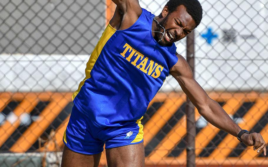 St. Mary's Braeden Long wins the shot put with a throw of 12.42 meters during Saturday's season-opening DODEA-Japan and Kanto Plain track and field meet.