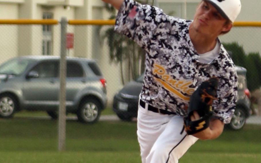 Kadena senior Cody Sego delivers against Kubasaki during Wednesday's Okinawa baseball game, won by the Panthers 11-4.