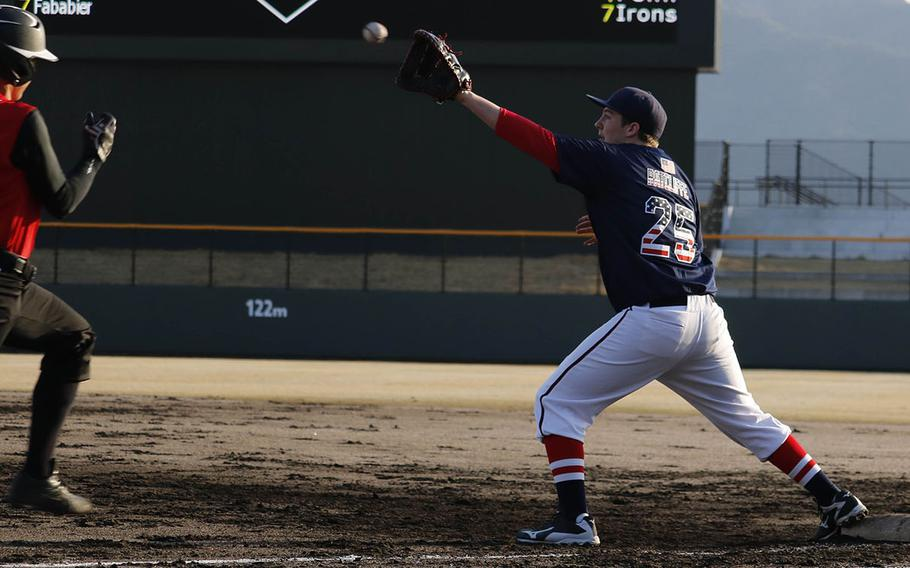Matthew C. Perry's Gabriel Ratcliffe awaits the throw at first base to put out E.J. King's Leo Schinker during Friday's DODEA-Japan baseball game, won by the Samurai 15-4.