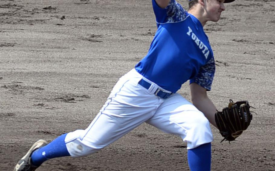 Yokota senior right-hander Sean Caffrey delivers against Matthew C. Perry during Saturday's DODEA-Japan baseball game. The Panthers routed the defending Far East Division II Tournament champion Samurai 16-0.