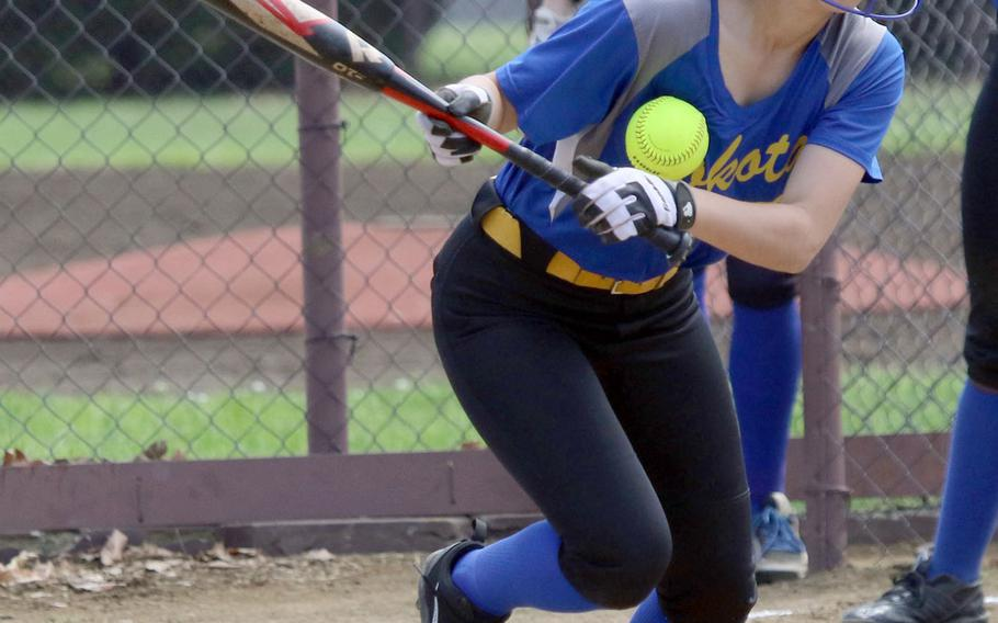 Yokota's Annalise Rodriguez tries to bunt her way on against Robert D. Edgren during Saturday's DODEA-Japan softball tournament final. The Eagles rallied to beat the Panthers 13-12.
