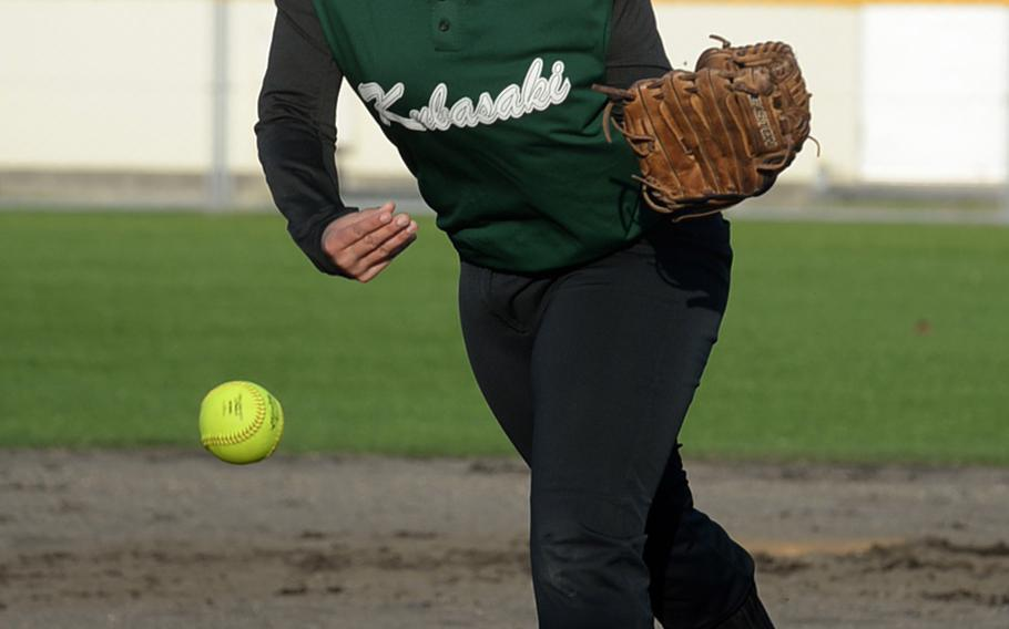 Olivia Witherow pitched Kubasaki to a 15-4 triumph Friday in Game 1 of the best-of-three Okinawa district softball finals. The Dragons swept the series 2-0, winning Game 2 15-11 and becoming the first Kubasaki team in school history to win both the regular season and district finals in the same year.