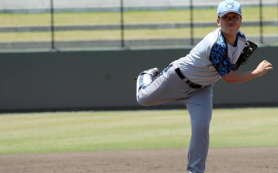 Osan's Louis Kim delivers against Yokota during Monday's double-elimination playoff game in the Far East Division II baseball tournament. The Cougars lost 11-0 to Yokota as Troy Barnes threw a no-hitter at Osan.
