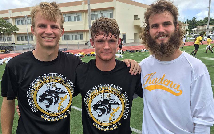 New Kadena quarterback Wyatt Knopp, center, will have two former Panthers stars, Cody Sego, the player Knopp succeeds, and older brother Justin Sego to mentor him in the early weeks of the season.