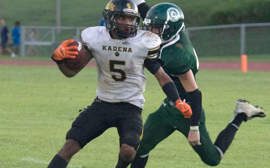 Kadena's Eric McCarter rushed 18 times for 128 yards and three touchdowns.