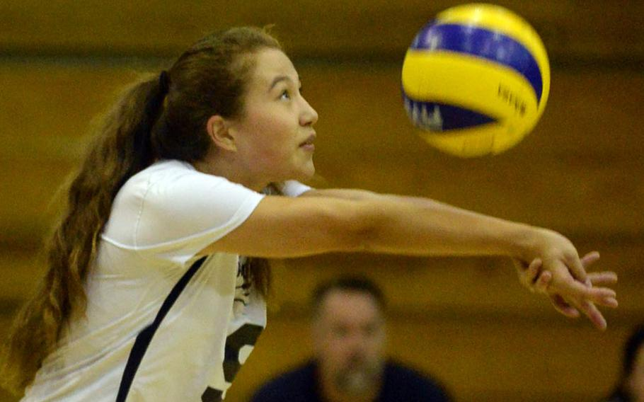 Seoul American's Mindy Pond passes the ball during the Falcons' three-set victory Friday over Daegu.