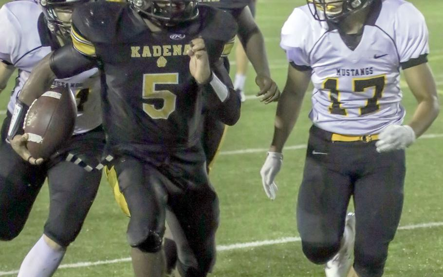 Kadena's Eric McCarter started at quarterback for the injured Wyatt Knopp and responded with 185 yards total offense and four touchdowns.