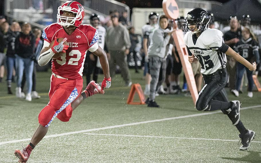 Nile C. Kinnick's Travion Morton accounted for 485 all-purpose yards and five touchdowns against Takumi Irwin and Zama.