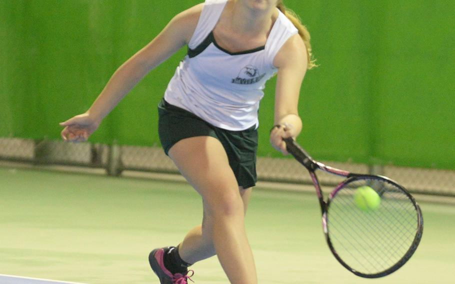 Robert D. Edgren's Jenna Mahoney lunges for a forehand return against Sarah Saiki of Matthew C. Perry, a match Mahoney won 8-2 in Friday's girls singles A play in the DODEA-Japan tennis tournament.