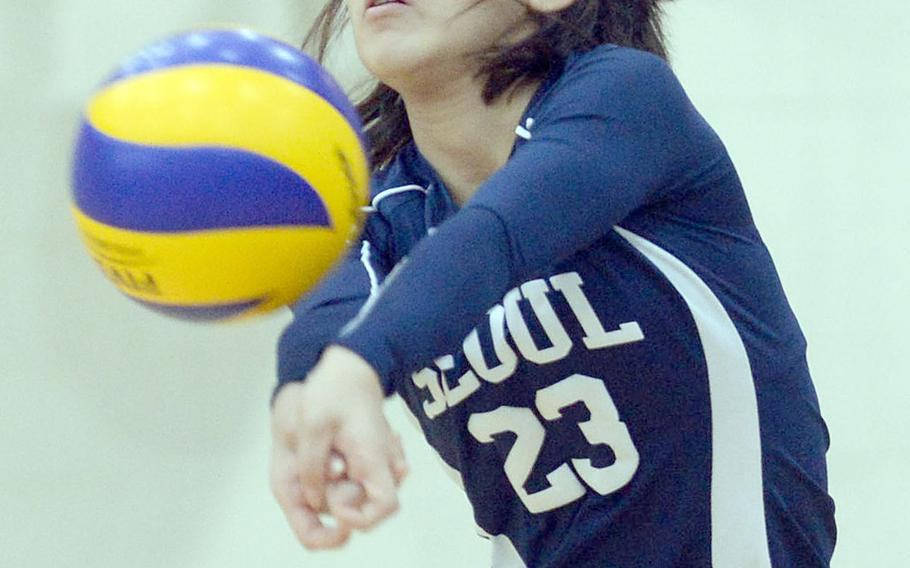 Seoul American libero Ashley Clifton bumps the ball against Asia-Pacific International during Friday's three-set win over the Greenhawks on Day 1 of the Korean-American Interscholastic Activities Conference's Plate Tournament.