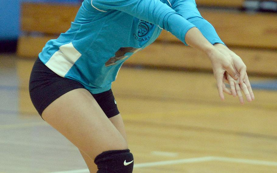 Osan's Skye Cervantes bumps the ball against Korea International School during Friday's five-set loss to the Phoenix on Day 1 of the Korean-American Interscholastic Activities Conference's Plate Tournament.