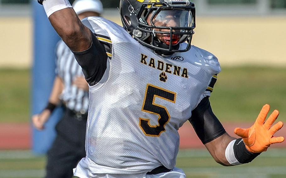 Kadena quarterback Eric McCarter was 17-for-19 for 411 yards and five touchdowns, the latter two figures Panther records. He also had an interception on defense.