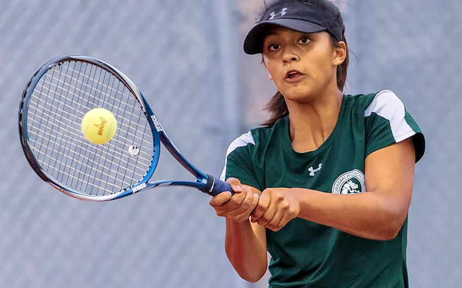 Kubasaki's Ally Johnson captured the girls singles title and teamed with Carolina Rivera to win the girls doubles in the Okinawa district finals.