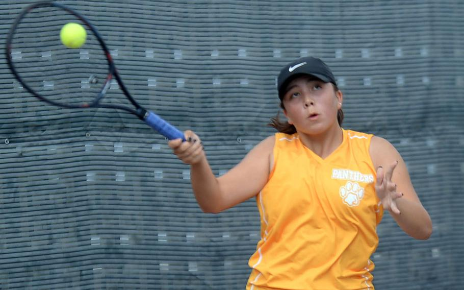 Kadena's Lisa Dombrowski launches a forehand return during Wednesday's girls singles play in the Far East tennis tournament. Dombrowski beat Yokota's Jessica Vernon 8-2 and Seoul American's Hana Ro 8-5 to reach the quarterfinals.