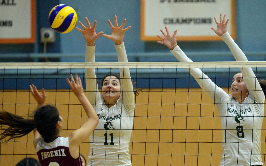 Donatella Barone, left, Abby Robinso and Kubasaki hope to rise to the top of the heap in the Far East Division I girls volleyball tournament for the fourth time in five years.