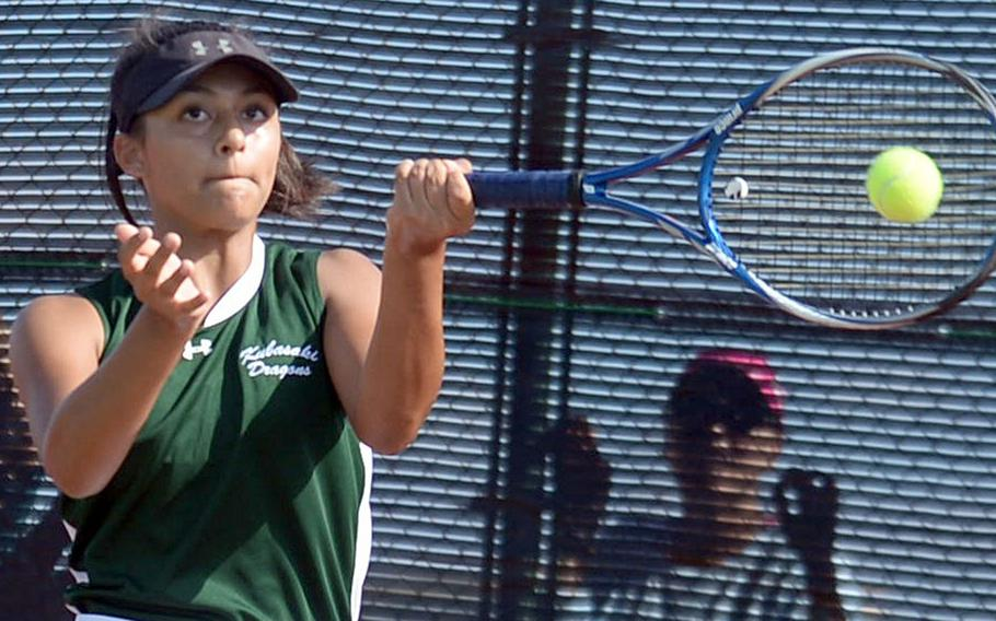 Kubasaki's Ally Johnson smacks a forehand return during Thursday's singles quarterfinals win over Edgren's Jenna Mahoney.