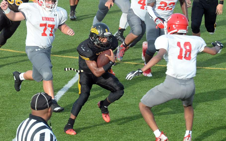 Kadena senior back Eric McCarter accounted for 1,310 yards total offense and 23 touchdowns this season.