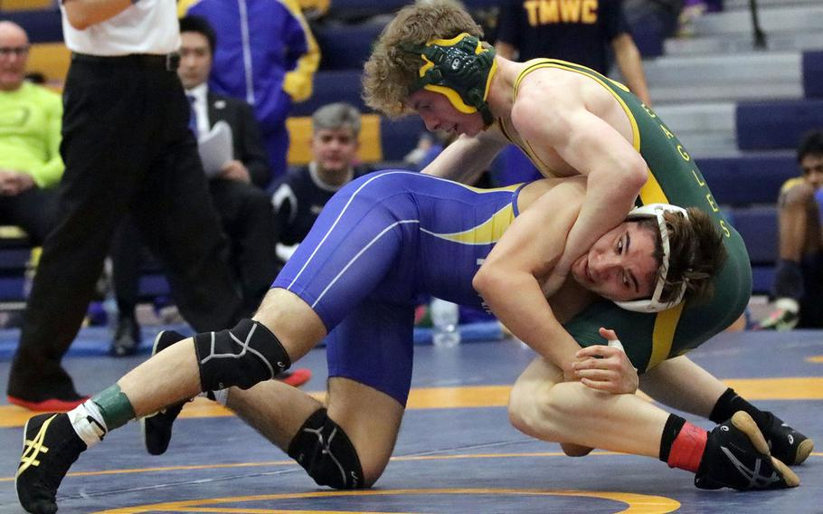 St. Mary's Cole Lawlor gains the edge on Robert D. Edgren's Ethan Hovenkotter in the 148-pound final bout of Saturday's Yokota Invitational Wrestling Tournament. Lawlor won by technical fall 10-0 in 2 minutes, 6 seconds.