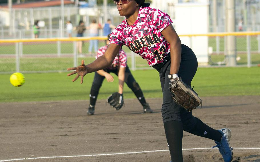 Kadena's Tavia Huggins delivers against Kubasaki during Thursday's Okinawa softball game. Huggins was touched for 16 earned runs on 10 hits and 11 walks as the Dragons won the regular-season opener 18-4.