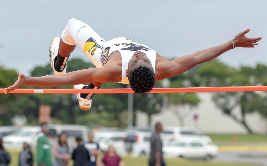 Xavier Peace of Kadena won the high jump with a leap of 5 feet, 10 inches during Saturday's Okinawa track and field meet.