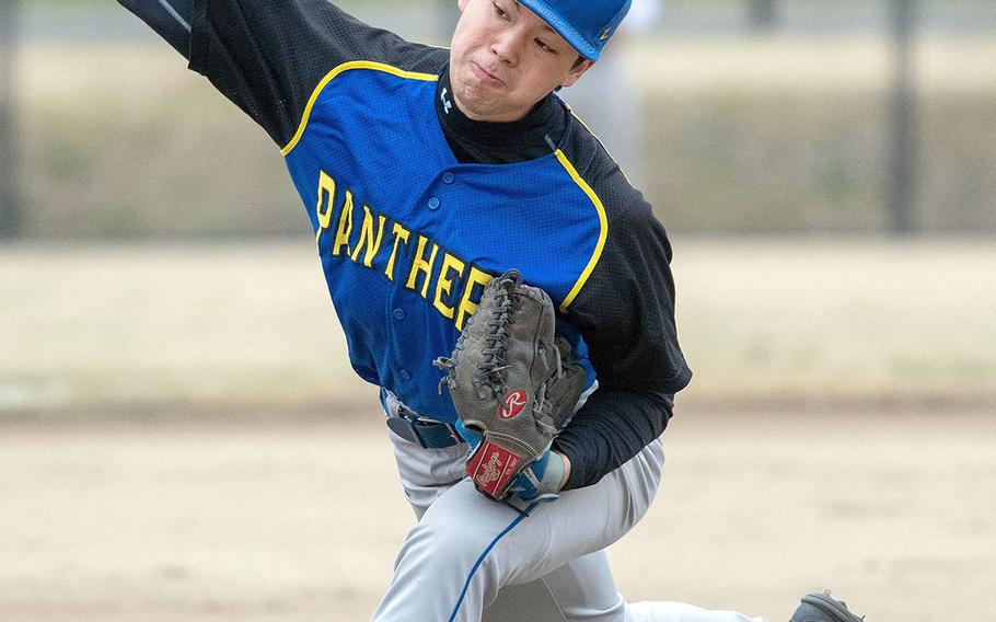 Yokota right-hander Glen Willingham delivers against Yamate, a Japanese team, during Saturday's Japan baseball game. The Panthers lost 3-0, but rebounded to down Nile C. Kinnick 12-1 in Saturday's second game at Yokota Park.