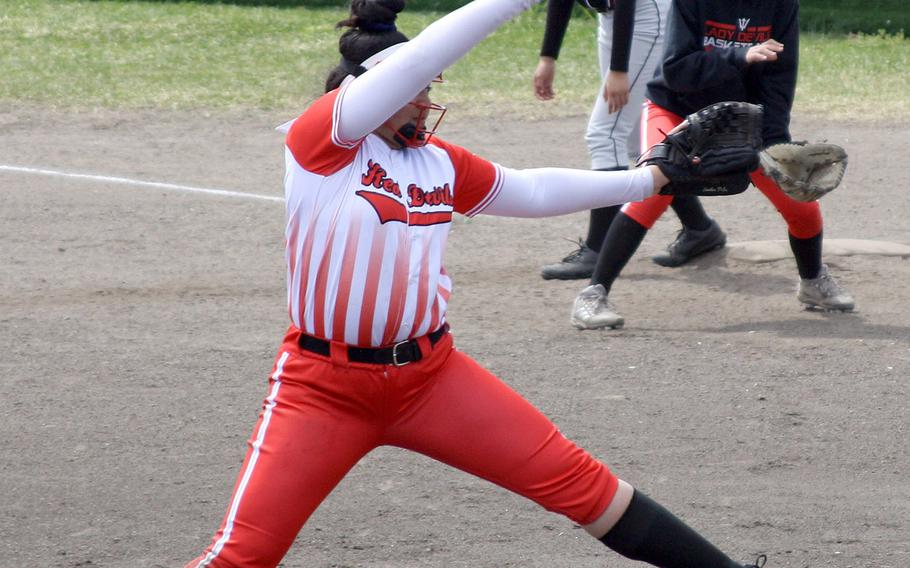 Nile C. Kinnick's Tori Osterbrink delivers against Matthew C. Perry during Friday's DODEA-Japan softball tournament game. The Red Devils won 10-0.