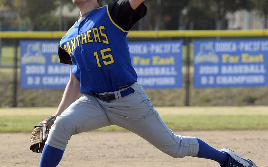 Yokota left-hander Riley DeMarco delivers against E.J. King during the final game Saturday in the DODEA-Japan baseball tournament. The Panthers won 8-0 to finish 4-0 and win the tournament for the fourth straight year.