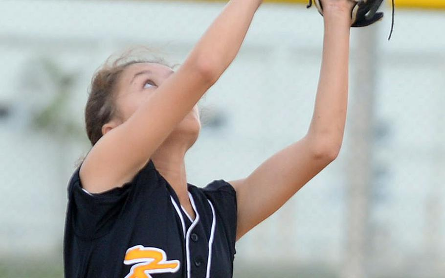An infield popup settles into the glove of Kadena second baseman Mylein Tull. It came in a losing effort in the first game of the Okinawa best-of-three district softball finals; Tull and the Panthers lost 12-11 and 15-3.