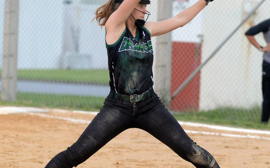 Freshman right-hander Jocelyn Powell allowed seven hits and four earned runs, striking out six in getting the victory in Kubasaki's 12-11 comeback win over Kadena in Game 1 of the Okinawa district softball finals.