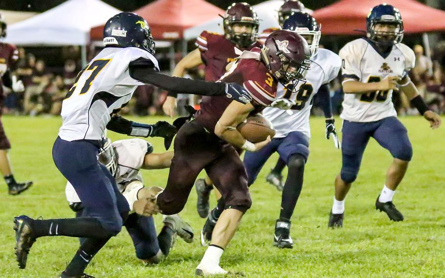 Try as they might, the Panthers could not stop Friars senior running back Kein Artero, who rushed 17 times for 244 yards and four touchdowns in three quarters. The league's leading rusher has 391 yards on 27 carries and nine touchdowns in Father Duenas' first two games.