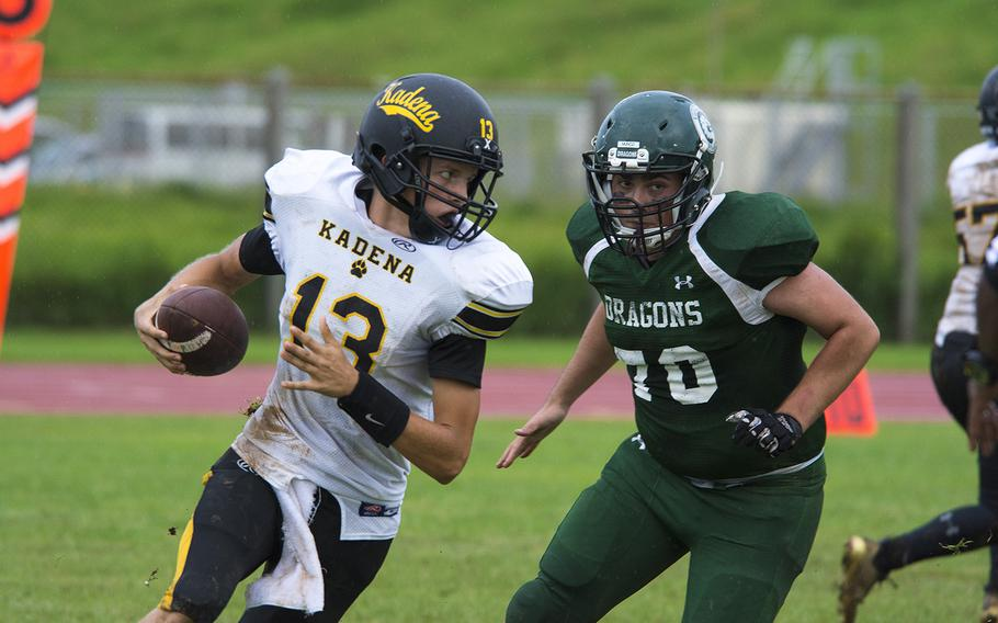 Jack Carey, quarterback for the Kadena Panthers, runs the ball during a game against the Kubasaki Dragons at Mike Petty Stadium on Camp Foster, Okinawa, Japan, Saturday, Sept. 7, 2019.