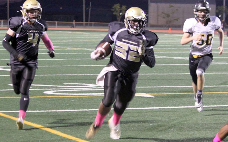 Humphreys' David Key only had five carries, but for 164 yards and three TDs against American School In Japan.