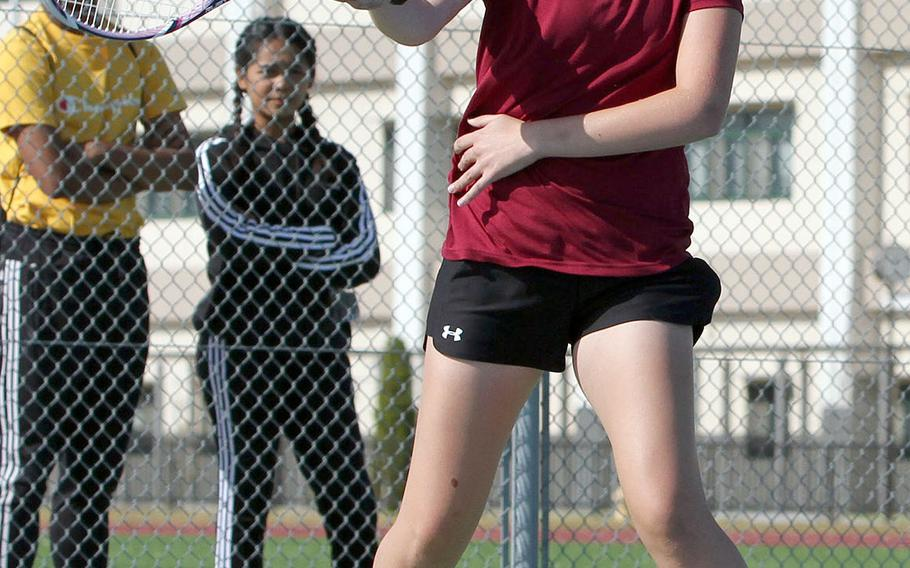 Matthew C. Perry's Olivia Archambault readies a forehand return during Friday's DODEA-Japan tennis finals. Archambault lost 8-2 to E.J. King's Jae Garland.