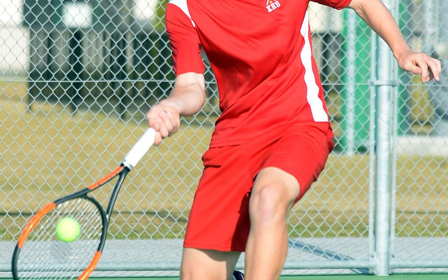 Nile C. Kinnick's Daniel Posthumus came up short in both the boys singles A final and teaming with Matthew Manson in a two-match boys doubles final against King's Takumi Kodama and Kaito Bergman in the DODEA-Japan finals.
