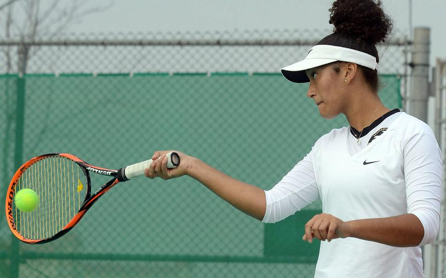 Humphreys senior Melissa Pritchett went unbeaten during the Korea Red Division tennis season along with three of her girls teammates, including Friday's district finals.
