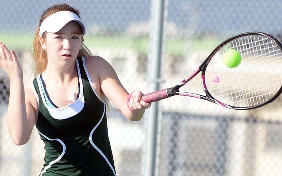 Robert D. Edgren's Jenna Mahoney repeated as DODEA-Japan tournament girls singles A champion, but had a struggle against Nile C. Kinnick's Amary-Gail Perfecto in an 8-6 win.