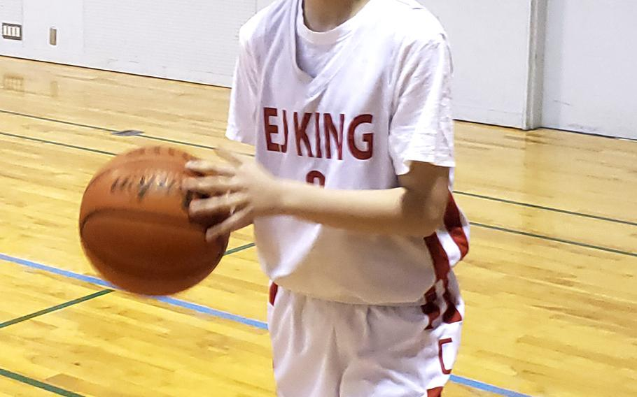 E.J. King freshman Cameron Reinhart hit 25 three-point goals in the Cobras' four games, all victories, in the Western Japan Athletic Association Basketball Festival at Kobe.